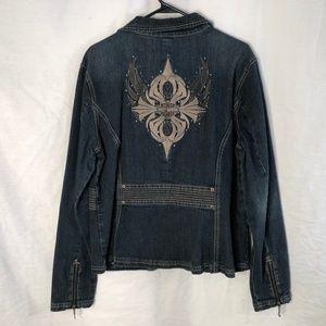 Harley Davidson XL Denim Jacket Embroidered 188